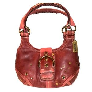 Vintage Coach Leather Rust Red Rivet Whipstitch